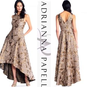 Floral Jacquard Hi Lo Ball Gown w/ Sequin Accents
